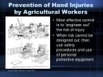 prevention of hand injuries by agricultural workers
