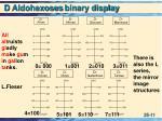d aldohexoses binary display