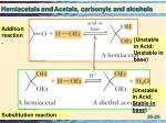 hemiacetals and acetals carbonyls and alcohols