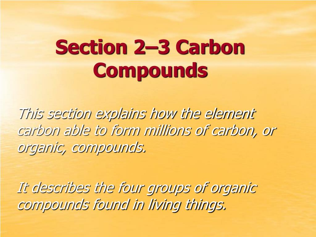 section 2 3 carbon compounds l.