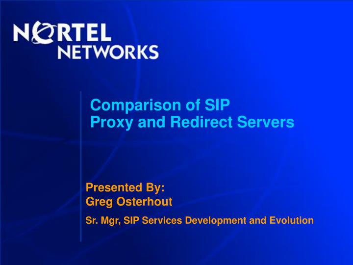comparison of sip proxy and redirect servers n.