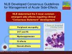 nlb developed consensus guidelines for management of acute side effects