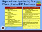 reported mobility affecting side effects of novel mm treatments