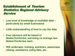 establishment of tourism statistics regional advisory service