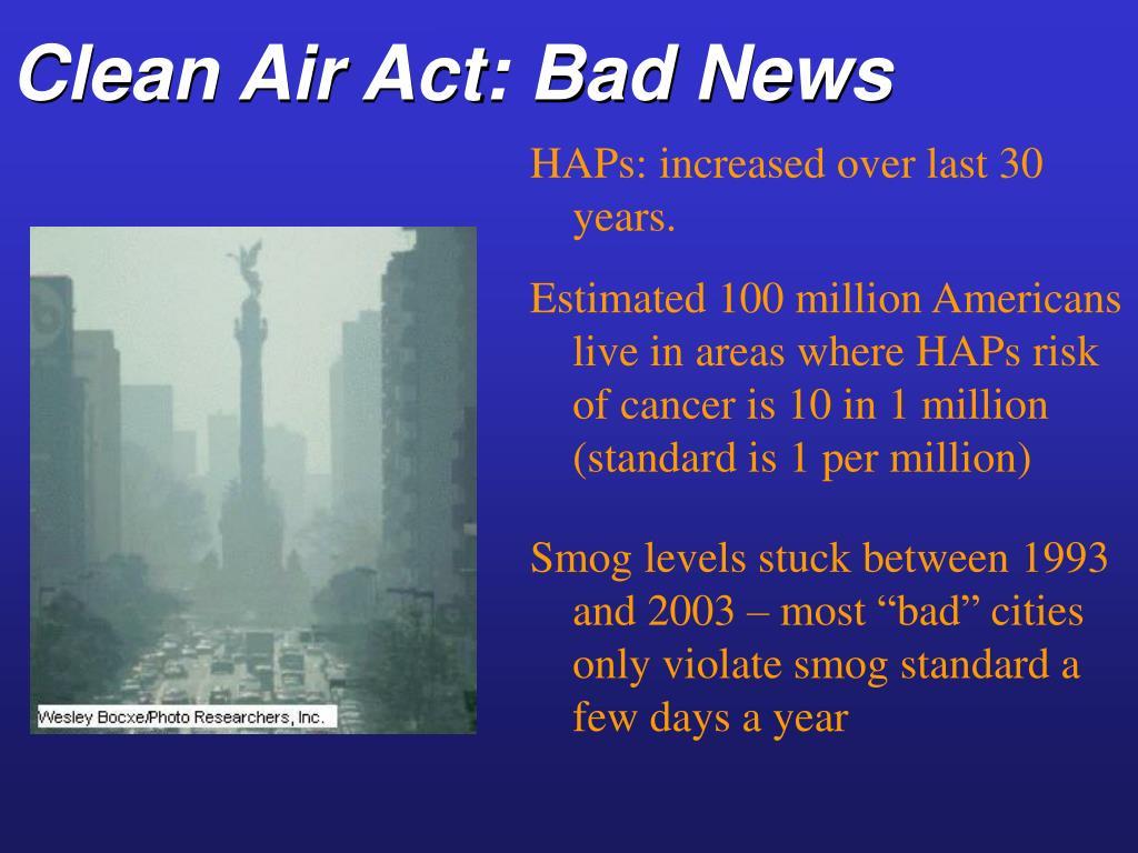 Clean Air Act: Bad News