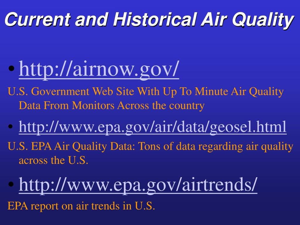 Current and Historical Air Quality