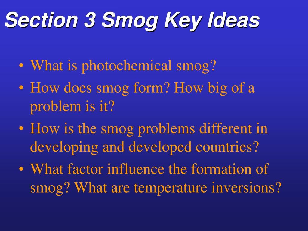 Section 3 Smog Key Ideas