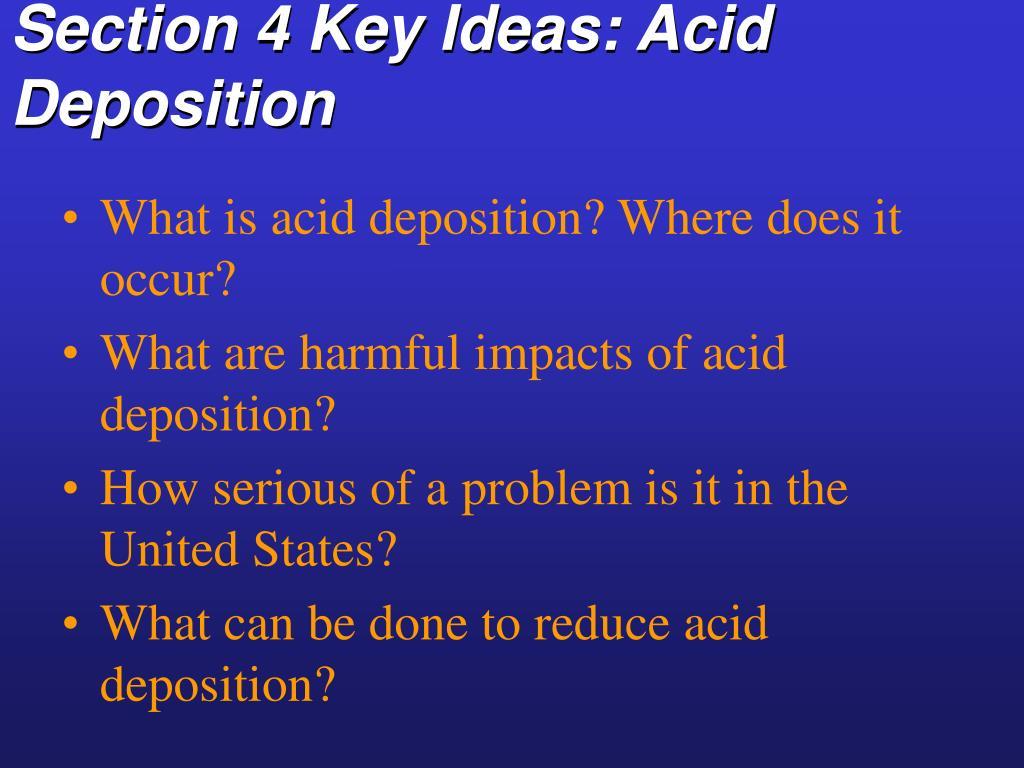 Section 4 Key Ideas: Acid Deposition