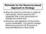 rationale for the resource based approach to strategy
