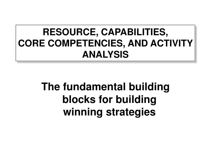 resource capabilities core competencies and activity analysis n.