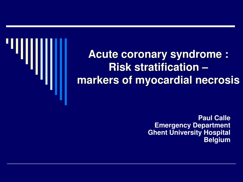 acute coronary syndrome risk stratification markers of myocardial necrosis l.