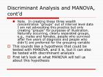 discriminant analysis and manova cont d