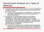 discriminant analysis as a type of manova