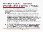 more than manova additional information from discriminant analysis