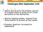 challenges after september 11th