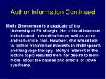 author information continued