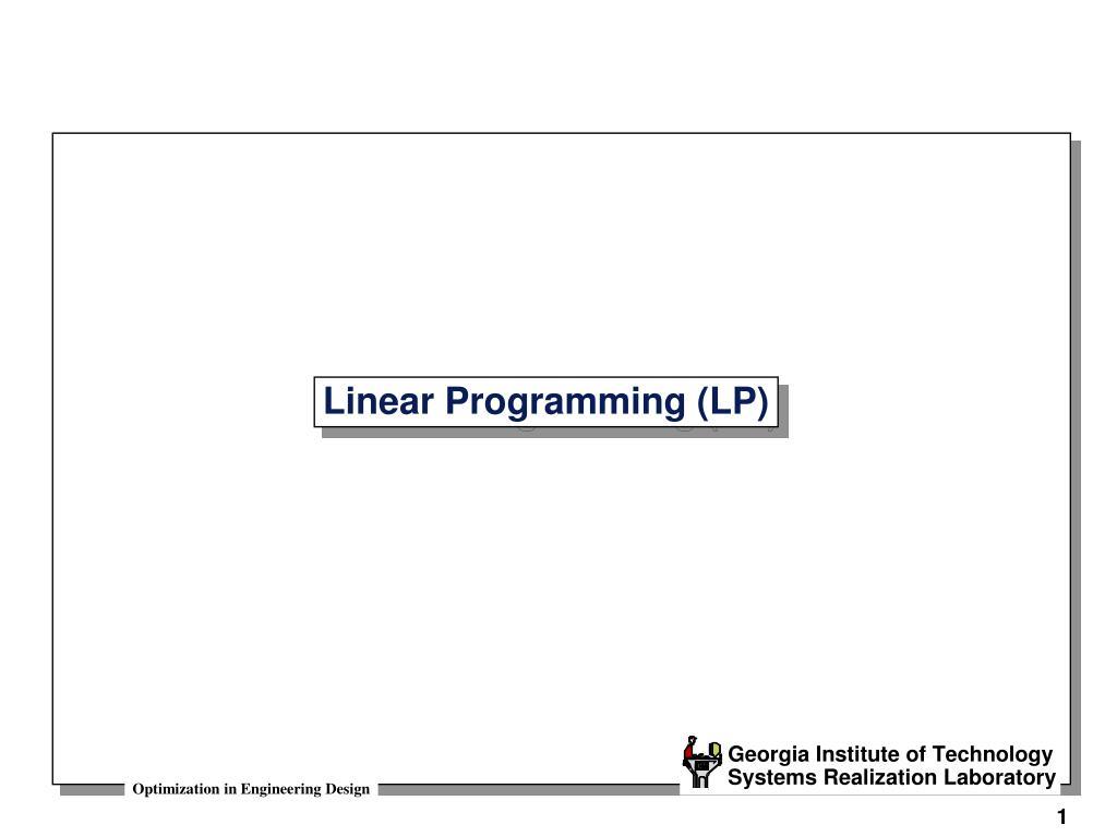 linear programming lp l.