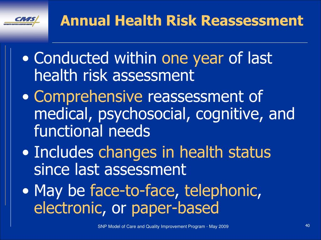 Annual Health Risk Reassessment