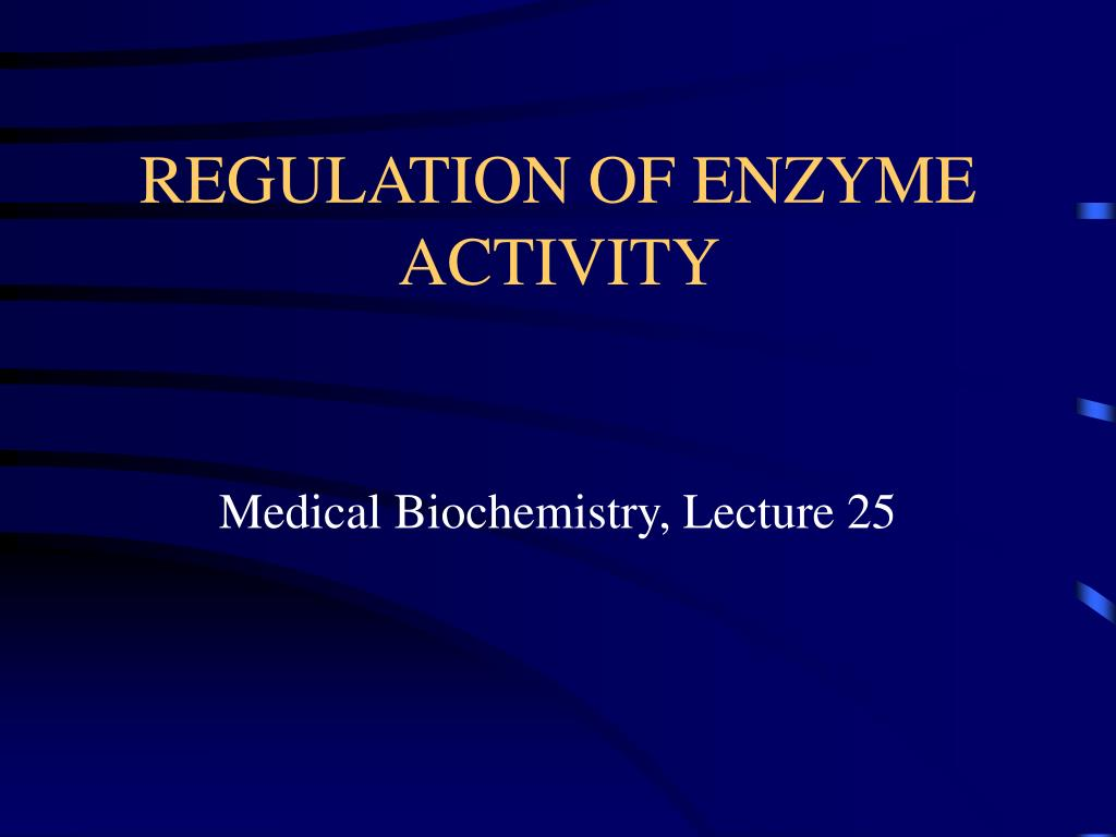 regulation of enzyme activity l.