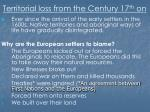 territorial loss from the century 17 th on