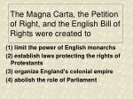 the magna carta the petition of right and the english bill of rights were created to