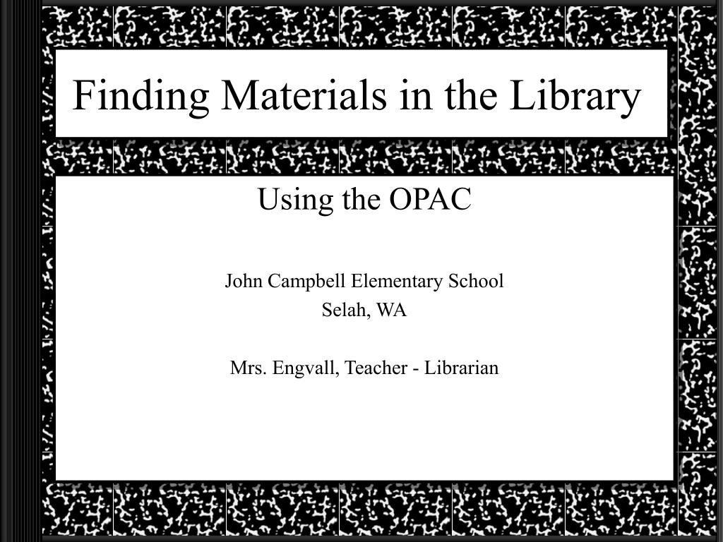 finding materials in the library l.