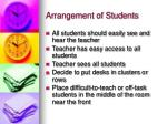 arrangement of students