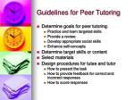 guidelines for peer tutoring