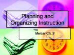 planning and organizing instruction