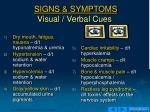signs symptoms visual verbal cues