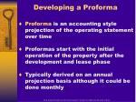 developing a proforma
