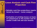lease analysis and cash flow projection