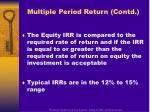 multiple period return contd