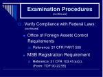 examination procedures continued26