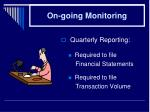 on going monitoring