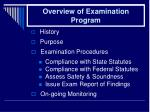 overview of examination program