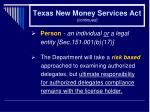 texas new money services act continued