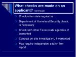 what checks are made on an applicant continued