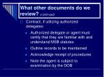 what other documents do we review continued