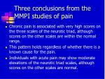 three conclusions from the mmpi studies of pain