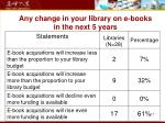 any change in your library on e books in the next 5 years