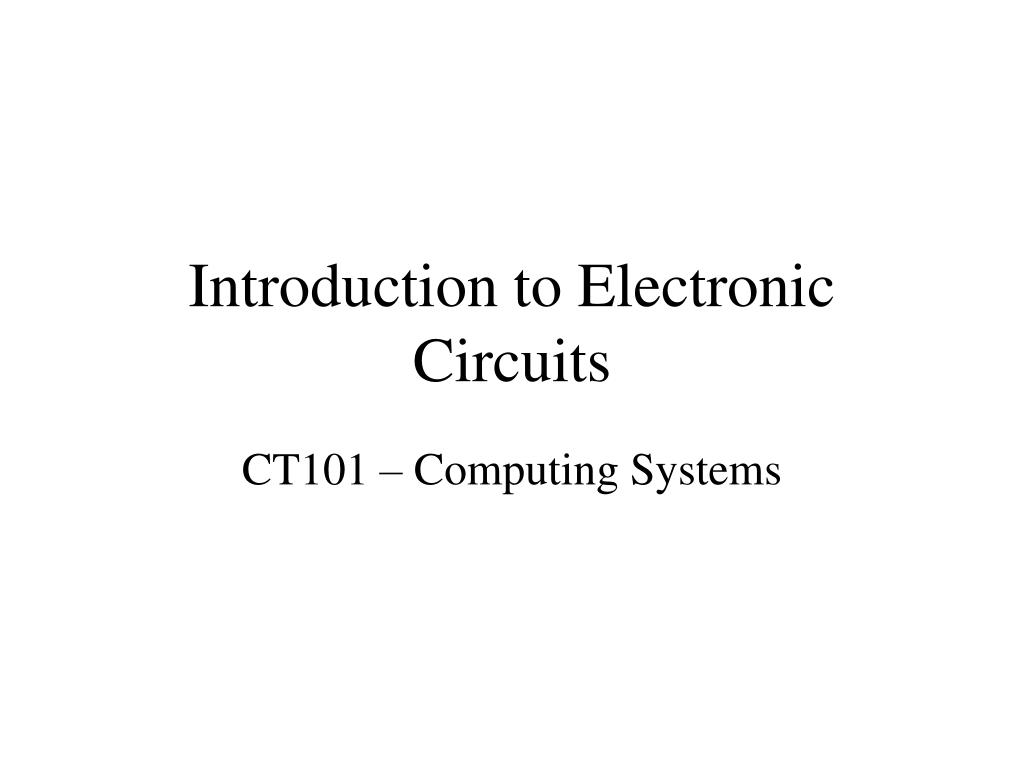 introduction to electronic circuits l.