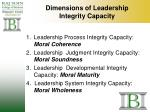 dimensions of leadership integrity capacity