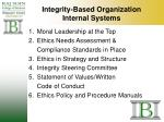 integrity based organization internal systems