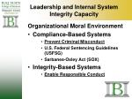 leadership and internal system integrity capacity