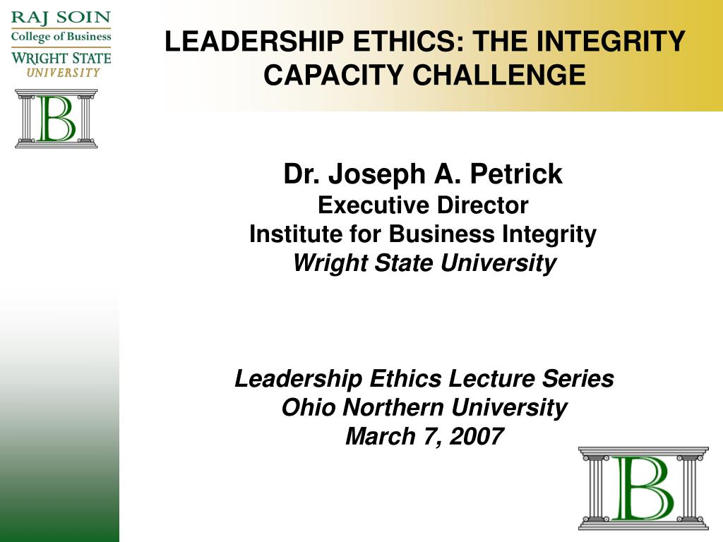 leadership ethics the integrity capacity challenge l.