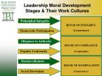 leadership moral development stages their work cultures