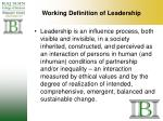 working definition of leadership