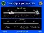 we begin again time line