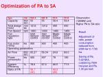 optimization of pa to sa